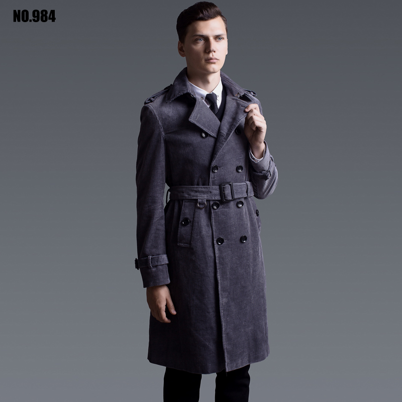 Hot Men Corduroy Trench Coat Double Breasted Windbreaker Casual Lapel Collar Long Sleeve Spring Autumn Slim Long Outerwear Coats