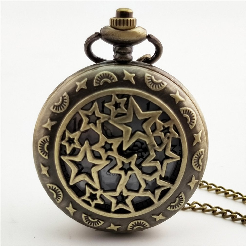 Big Star Carved Steampunk Pocket Watch Vintage Antique Round Dial Quartz Watch Chain Necklace Pendant Clock for Mens Womens